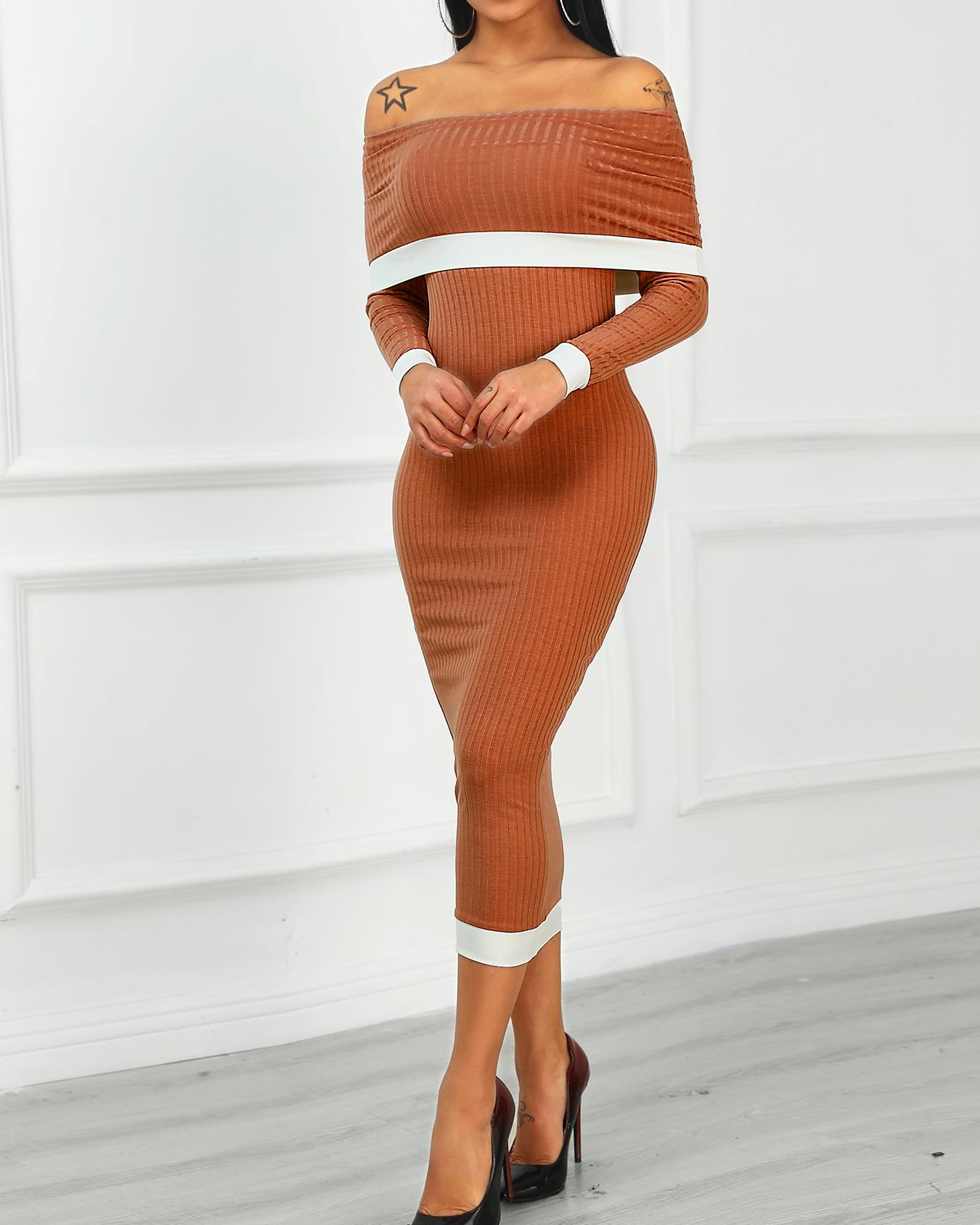 Fold Over Off Shoulder Contrast Binding Midi Dress