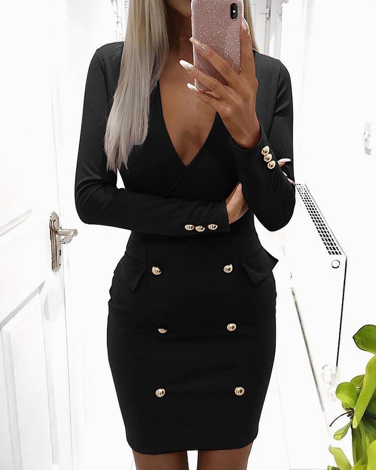 Solid V Neck Double-Breasted Bodycon Dress