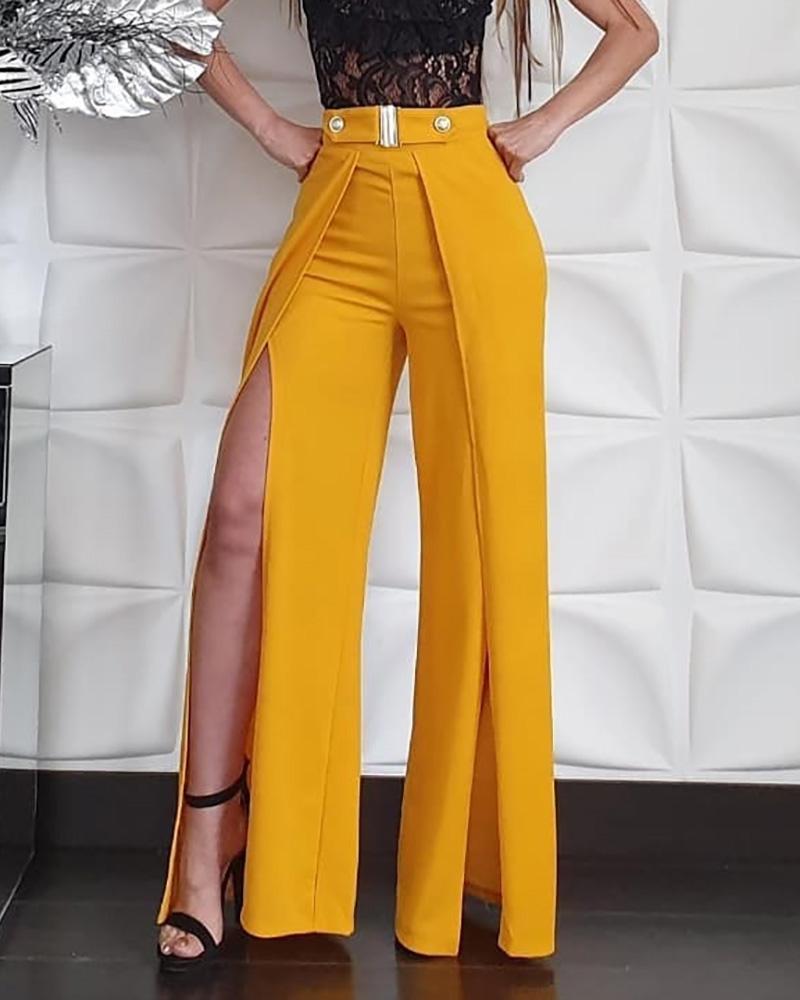 ivrose / Pantalones de pierna con hendidura de cintura alta sólidos
