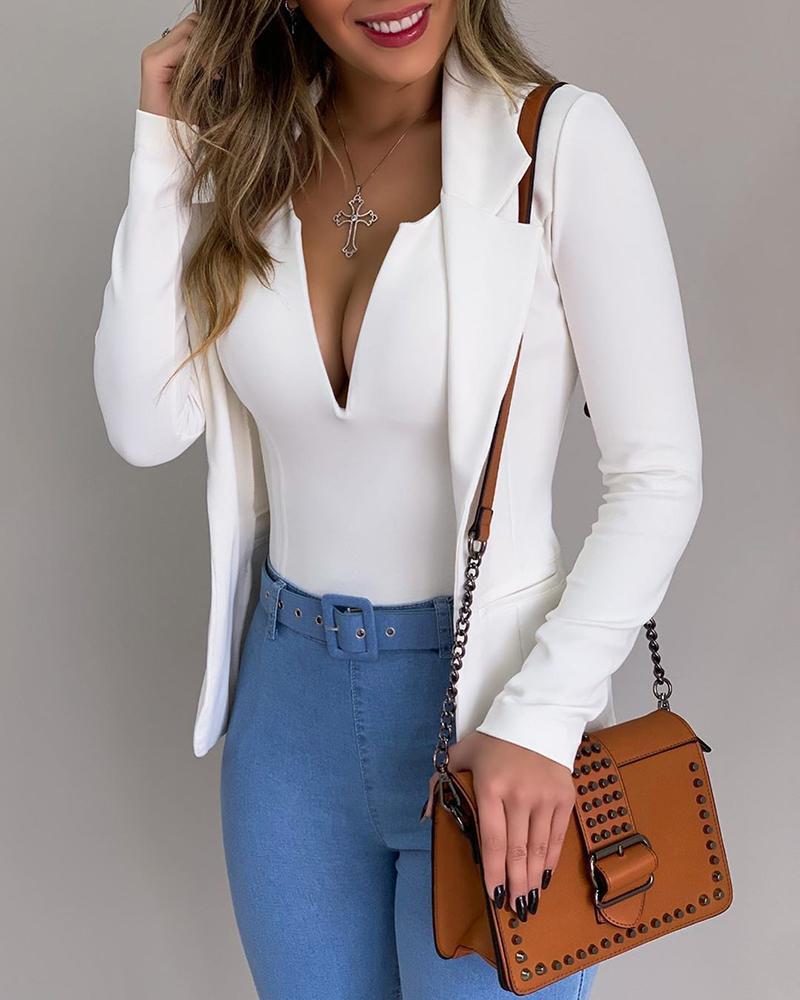 Solid Bodysuit &Long Sleeve Blazer Coat Set фото