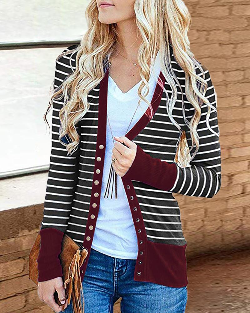 Contrast Binding Striped Buttoned Cardigan, Red