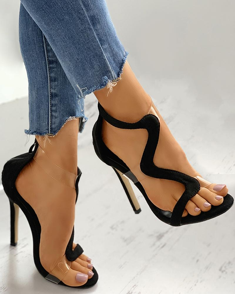 Open Toe Clear Perspex Cutout Stiletto Heel фото