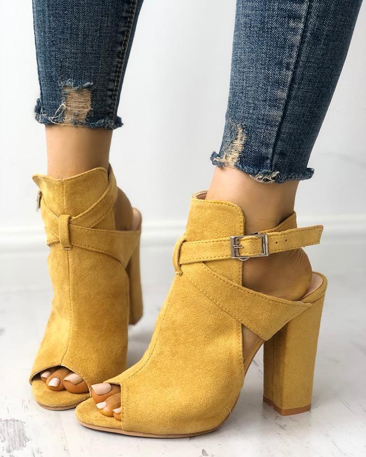 ivrose / Cutout Criss Cross Strap Peep Toe Heels