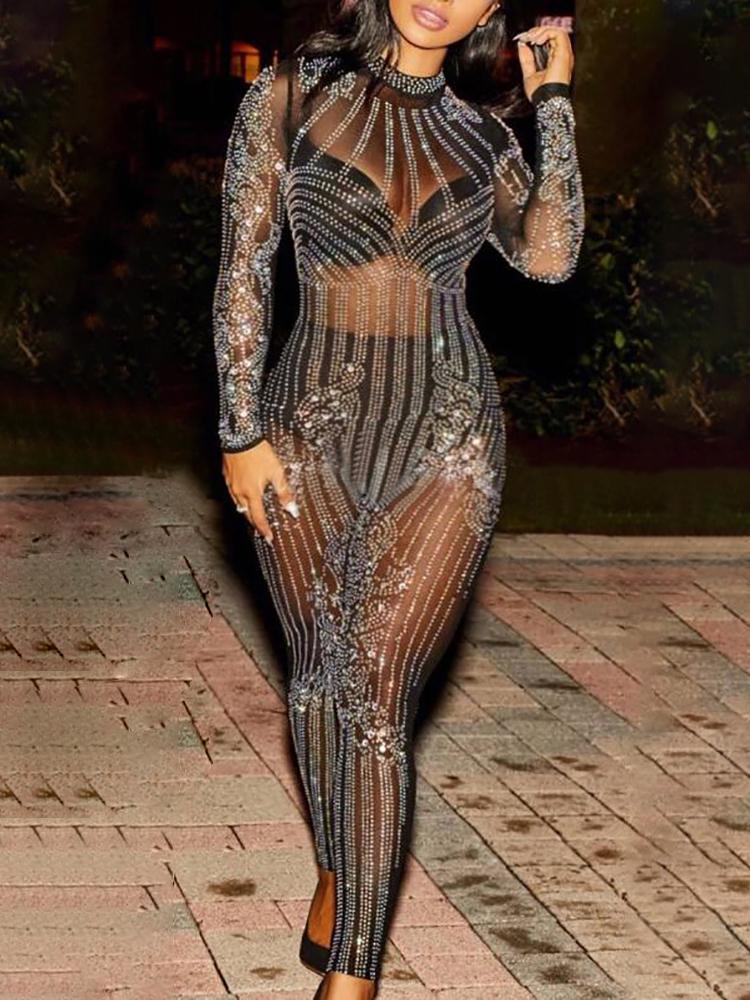 Glittering Embellished Mesh Skinny Jumpsuit