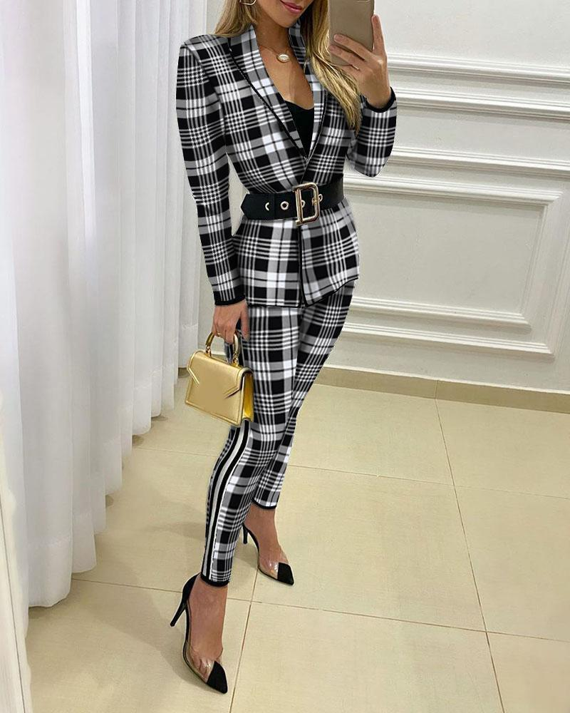 Plaid Print Blazer Coat & Fitted Pants Sets фото