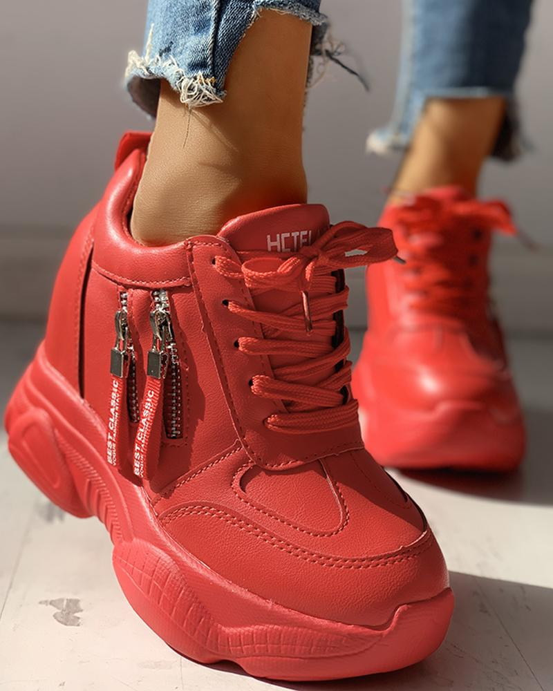 Lace-Up Zipper Design Sneakers фото
