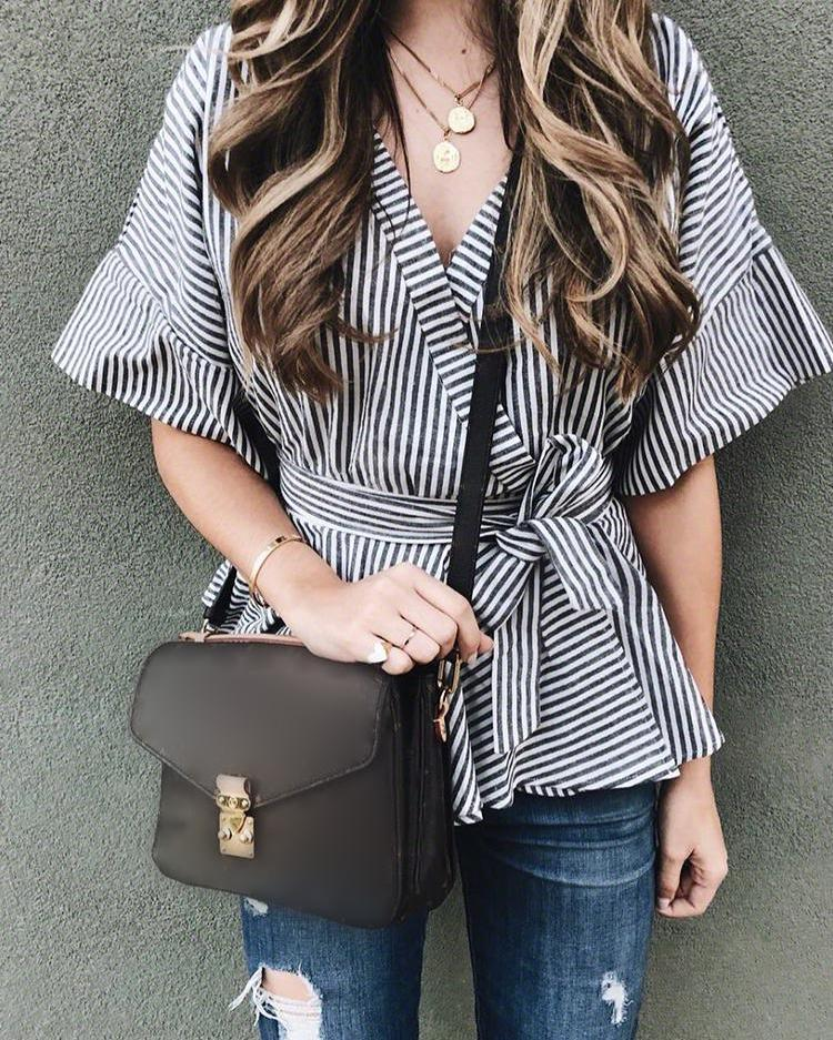 Striped Flared Sleeve Tied Waist Peplum Blouse фото