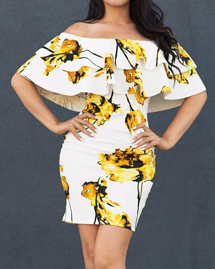 Floral Layered Ruffles Off Shoulder Bodycon Dress, Yellow