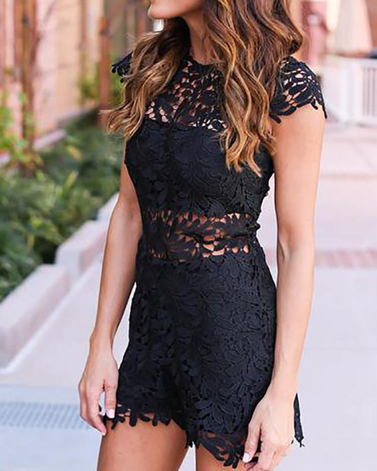 Sexy Cap Sleeve Hollow Out Lace Mini Dress фото