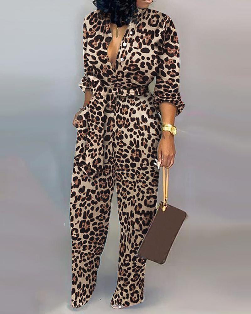 Leopard Tied Waist Long Sleeve Jumpsuit фото