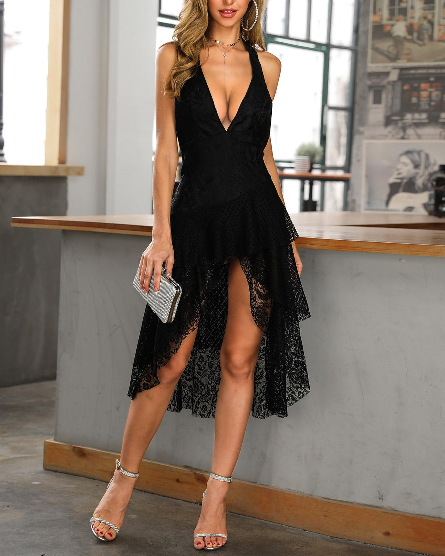 Deep V Halter Hollow Out Lace Party Dress