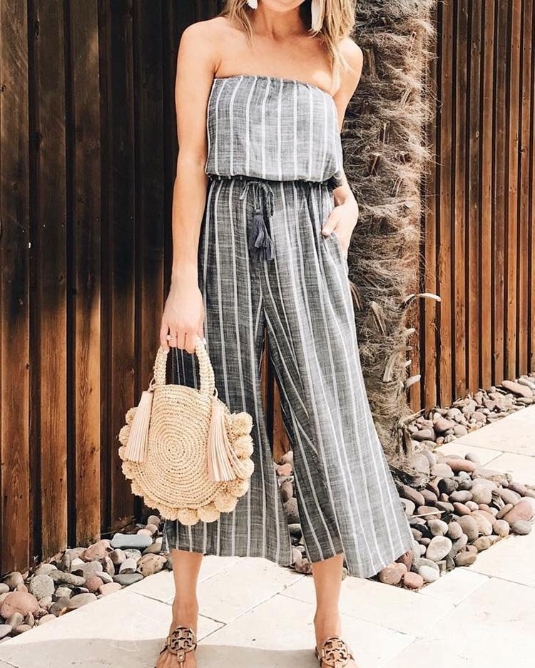 Striped Print Strapless Wide Leg Jumpsuit фото