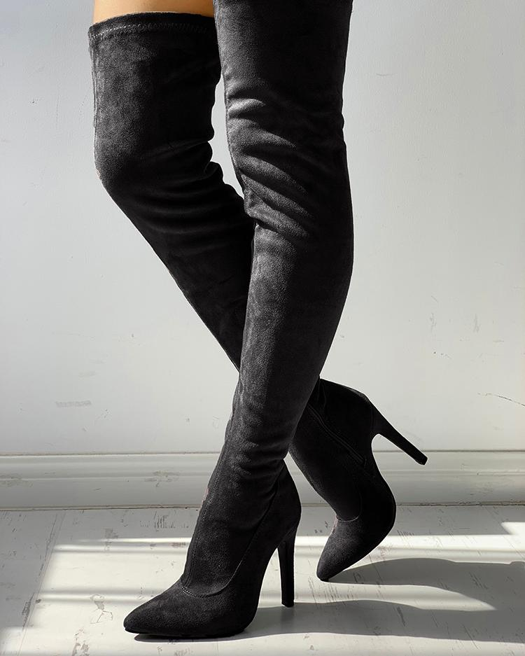 Knee-High Pointed Toe Heels Red Boots, Black