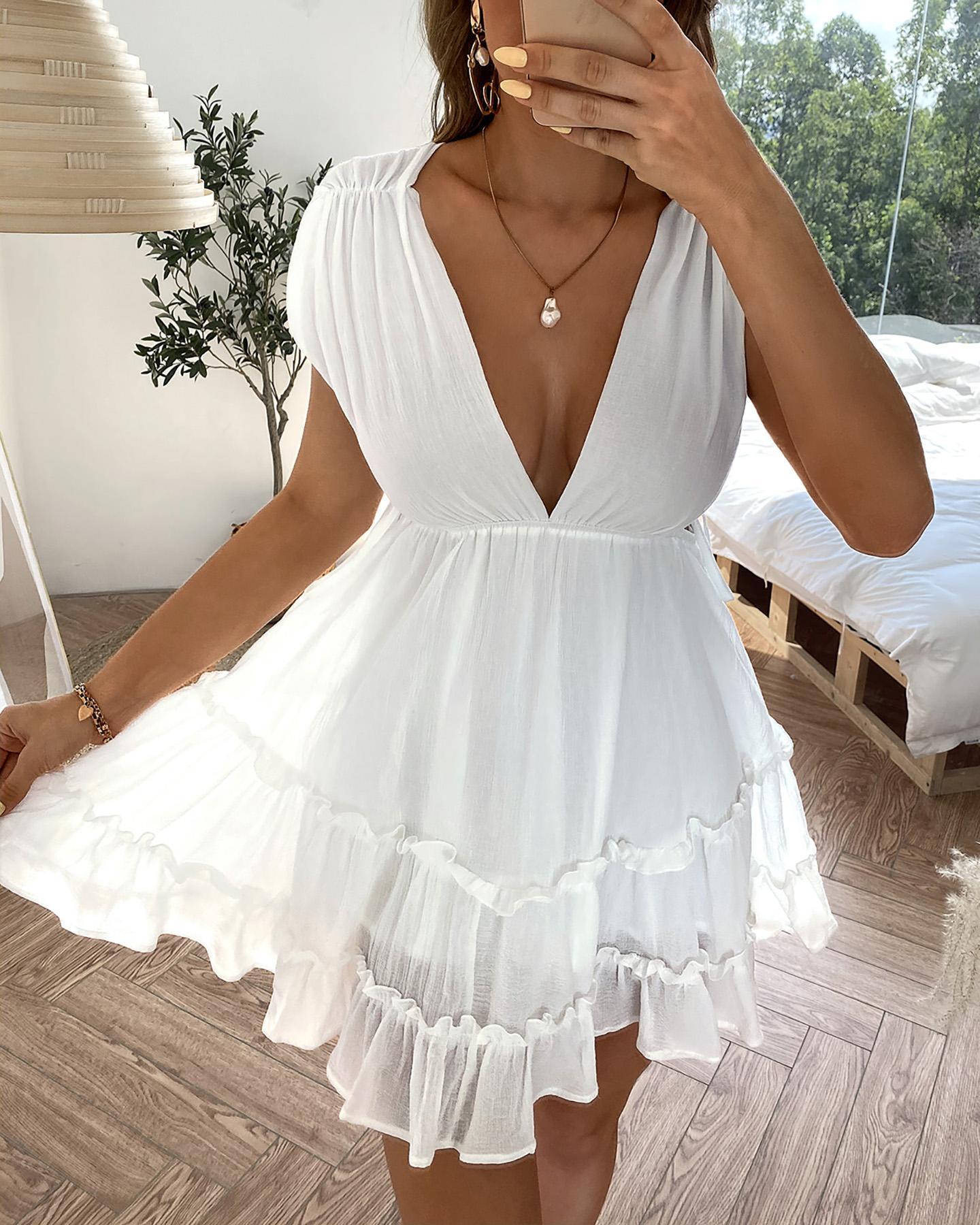 Plunge Lace-up Frill Hem Deep V-neck Dress фото