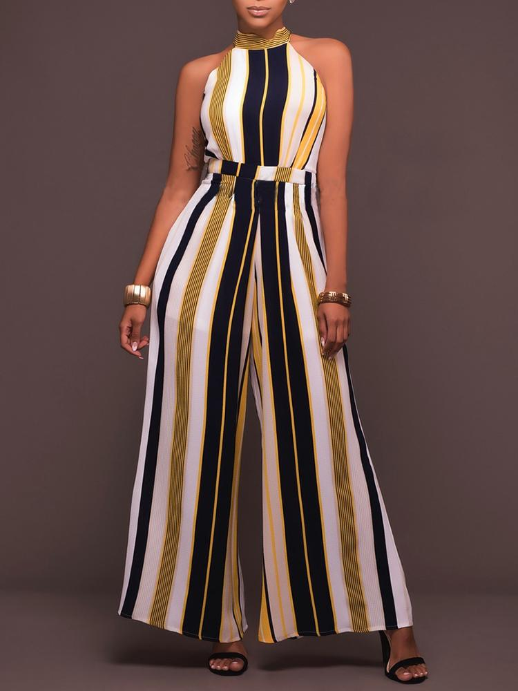 Casual Stripe Printed Sleeveless Wide Leg Jumpsuit