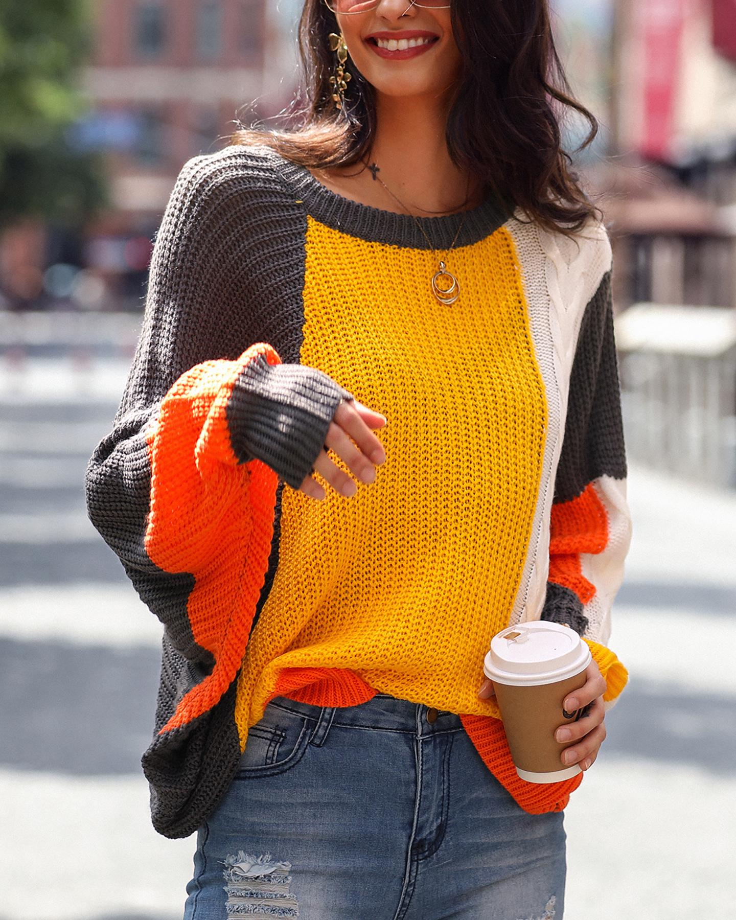 Loose Large Size Colorblock Sweater фото