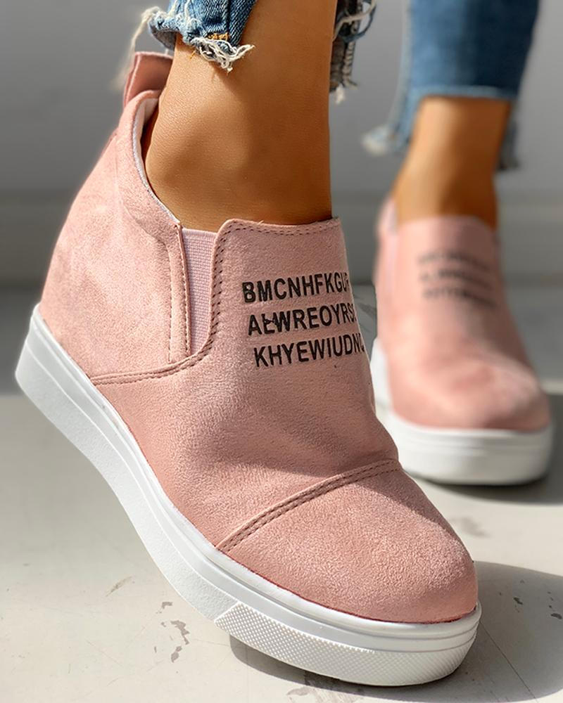Suede Letter Pattern Casual Sneakers фото