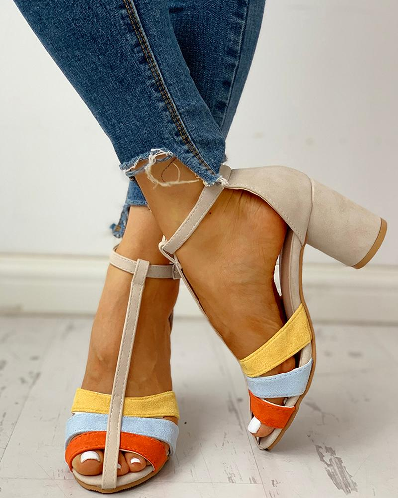 Ankle Buckled Colorblock Chunky Heeled Sandals