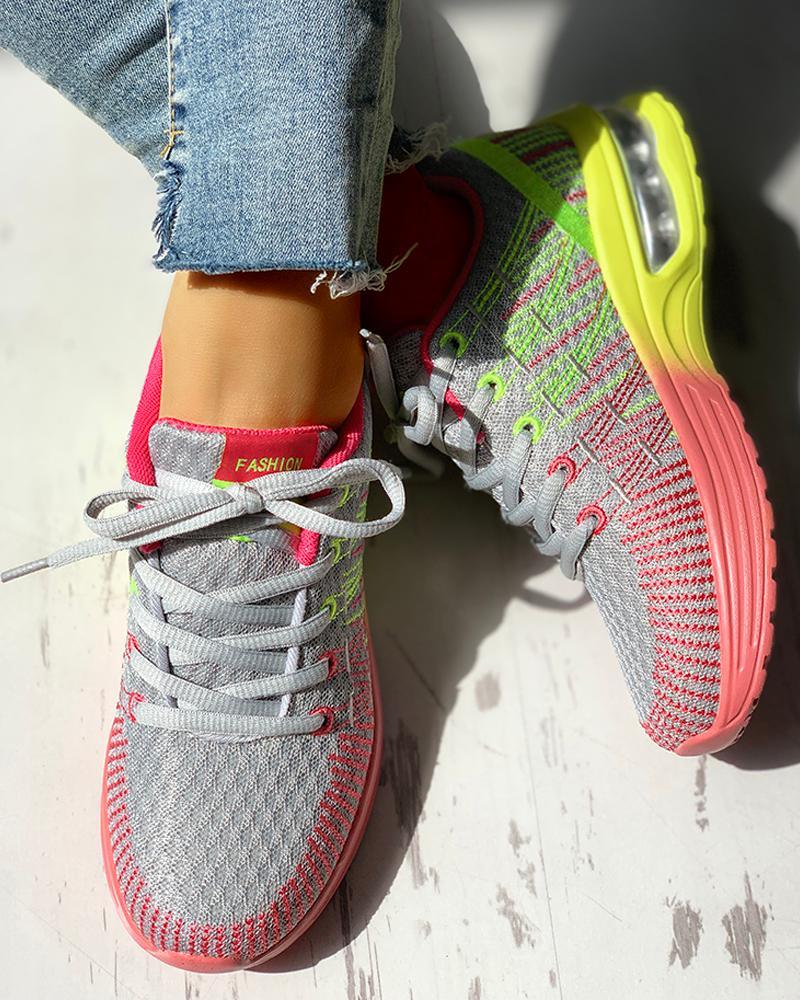 boutiquefeel / Zapatillas con cordones transpirables de punto Colorblock