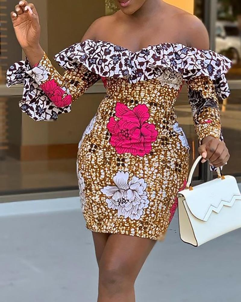 Colorful Print Ruffles Off Shoulder Dress фото