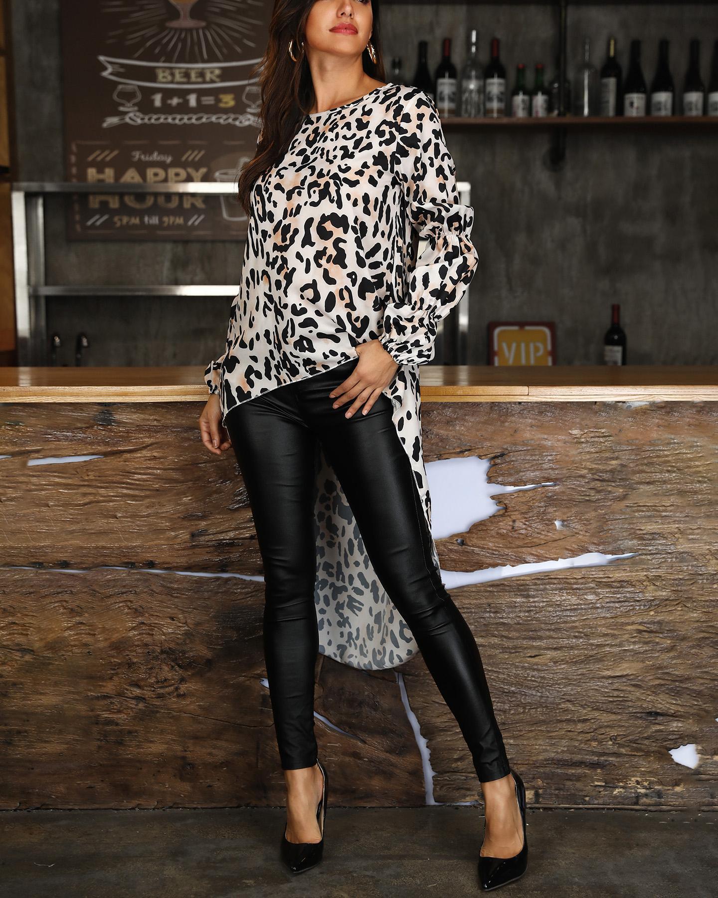ivrose / Blusa de manga larga con estampado de leopardo