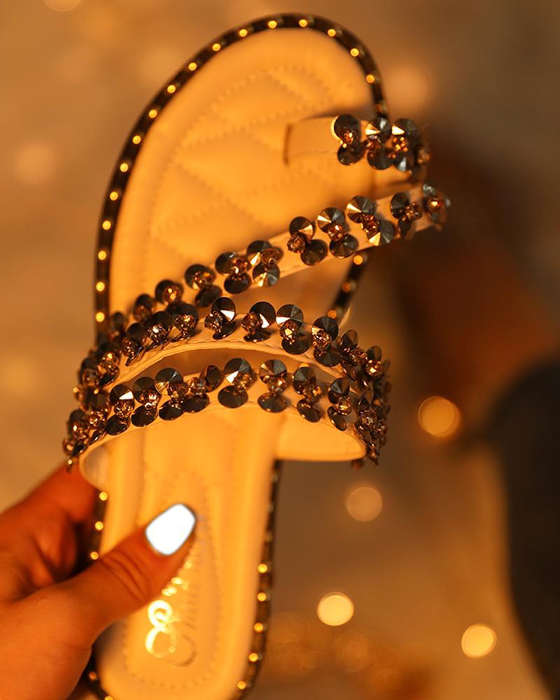 chicme / Detalhe Studded Toe Ring Sandálias Flat