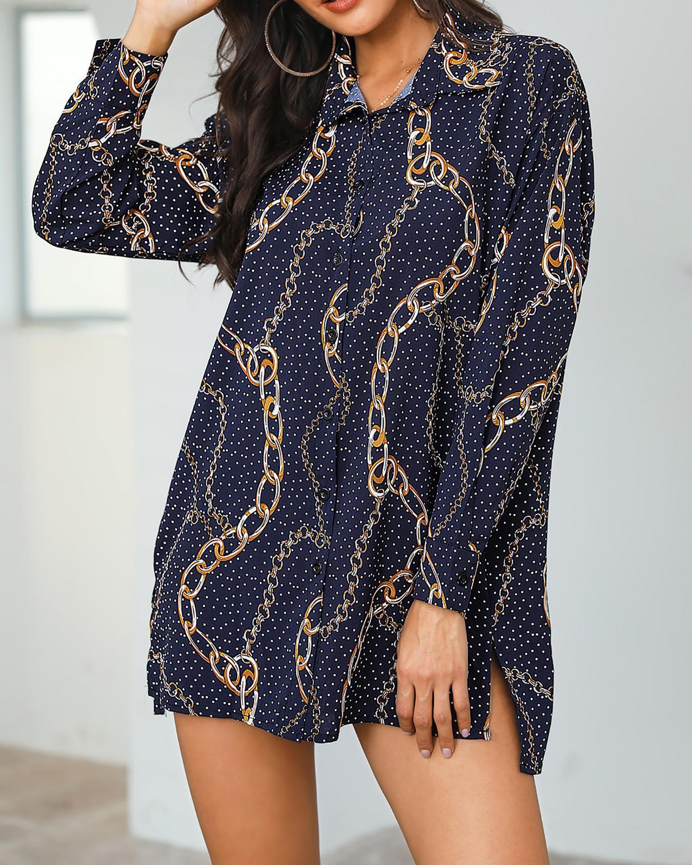 ivrose / Dots & Chains Imprimir Side Slit Shirt Dress