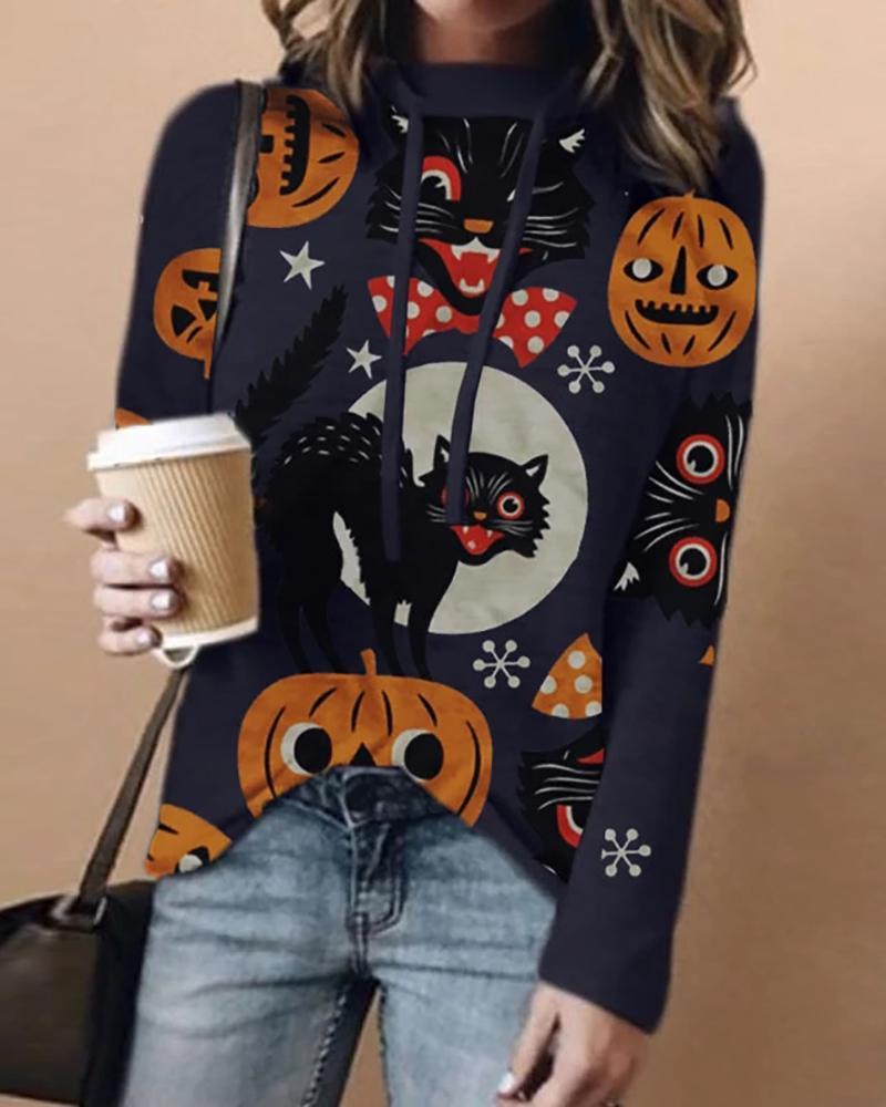 Halloween Cat Pumpkin Print Casual Hooded Top фото