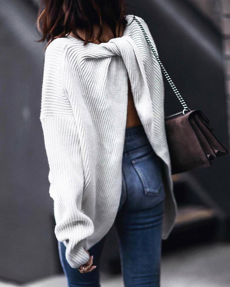 Solid Long Sleeve Twisted Ribbed Back Slit Knitting Sweater фото