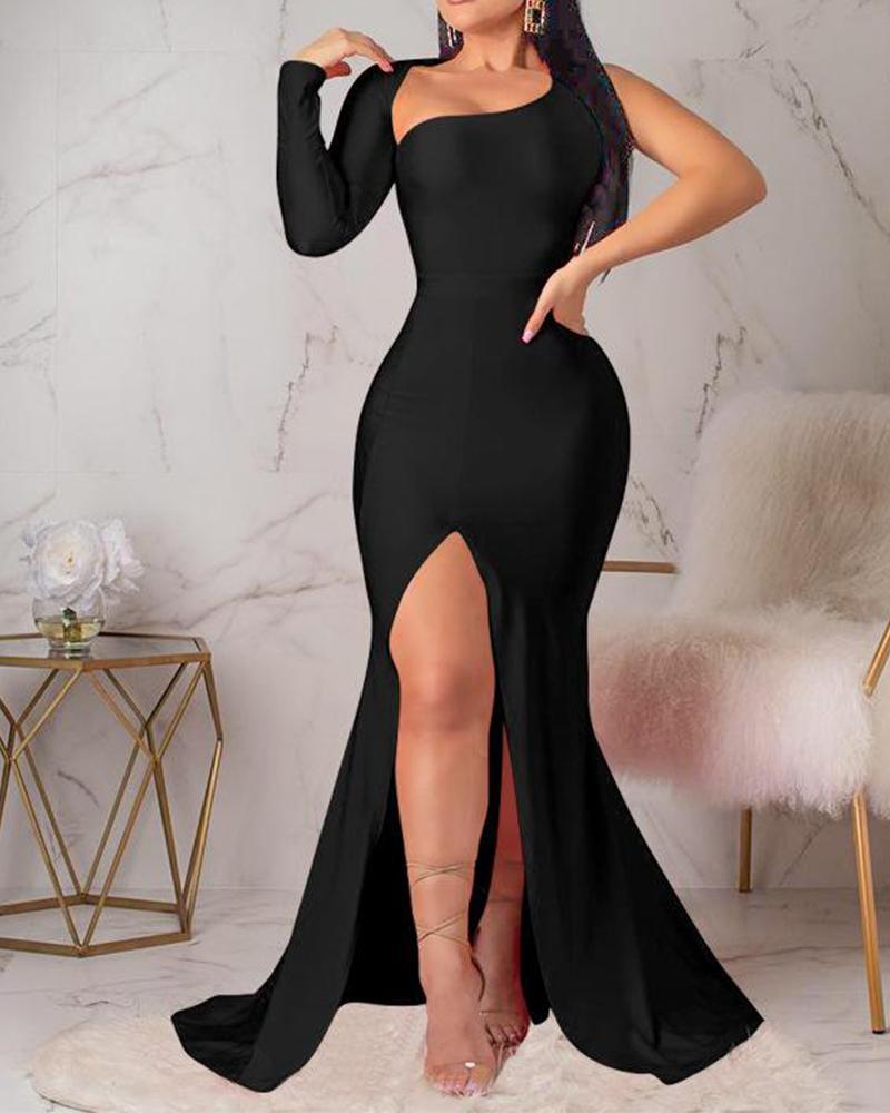 chicme / Vestido de noche sin espalda de un hombro