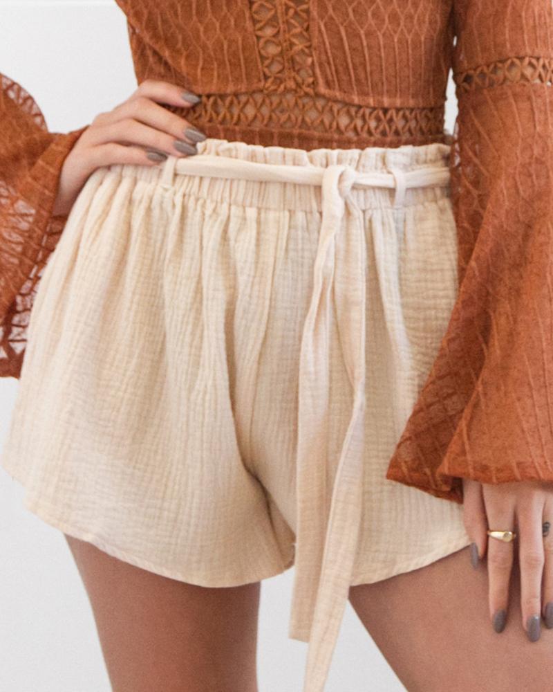 ivrose / Paperbag cintura acanalada detalle pantalones cortos casuales