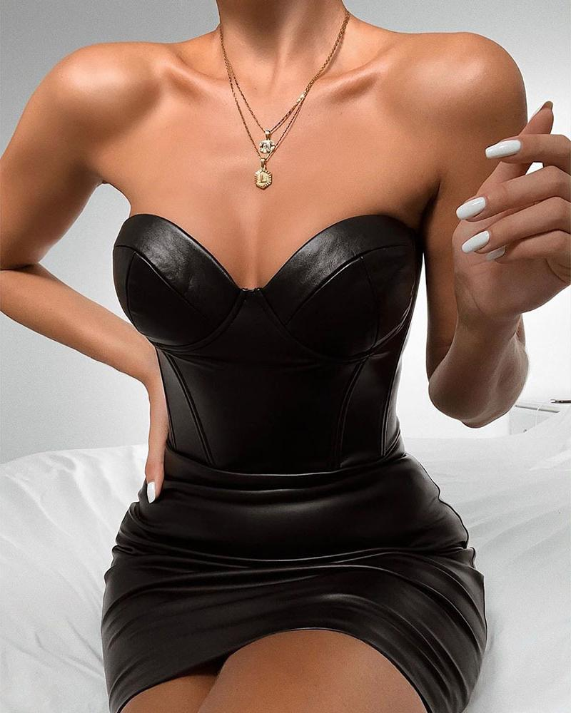Solid Sweatheart Neck PU Bodycon Dress фото