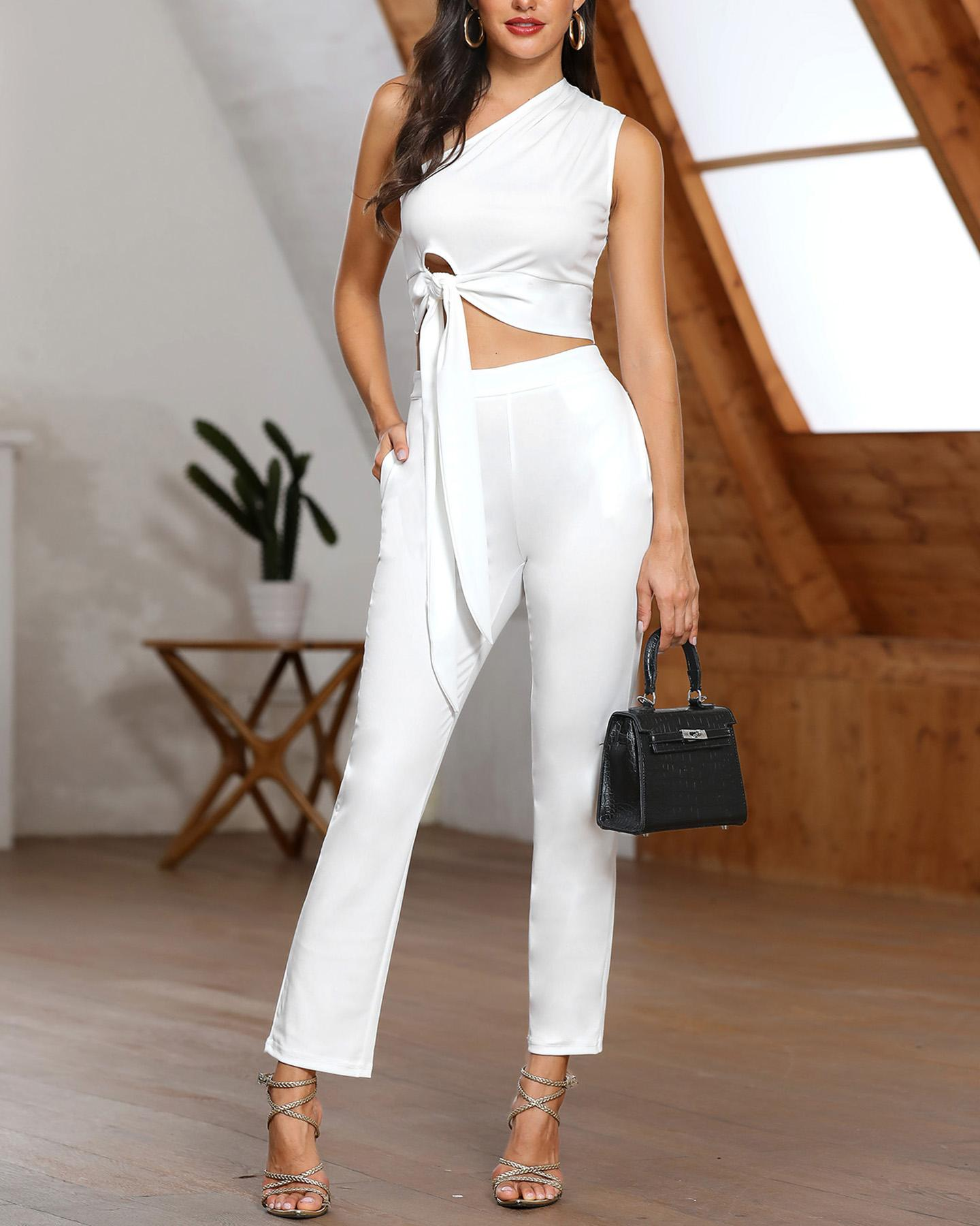 One Shoulder Tied Detail Top & High Waist Pant Sets фото