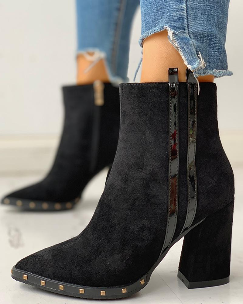 chicme / Solid Pointed Toe Zipper Chunky Heeled Boots