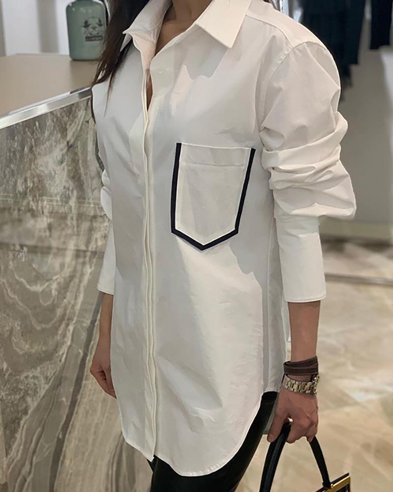 Solid Long Sleeve Pocket Shirt, White