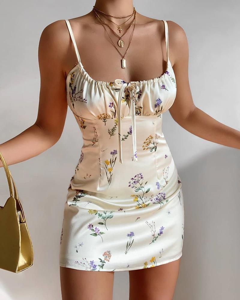 ivrose / Vestido com cordão de cinta de espaguete com estampa floral