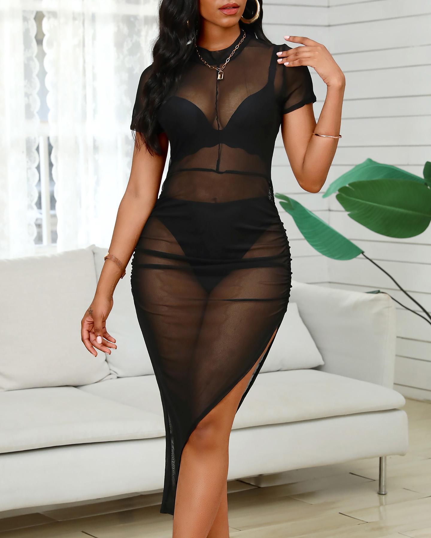 Sheer Mesh Slit Ruched Irregular Dress фото