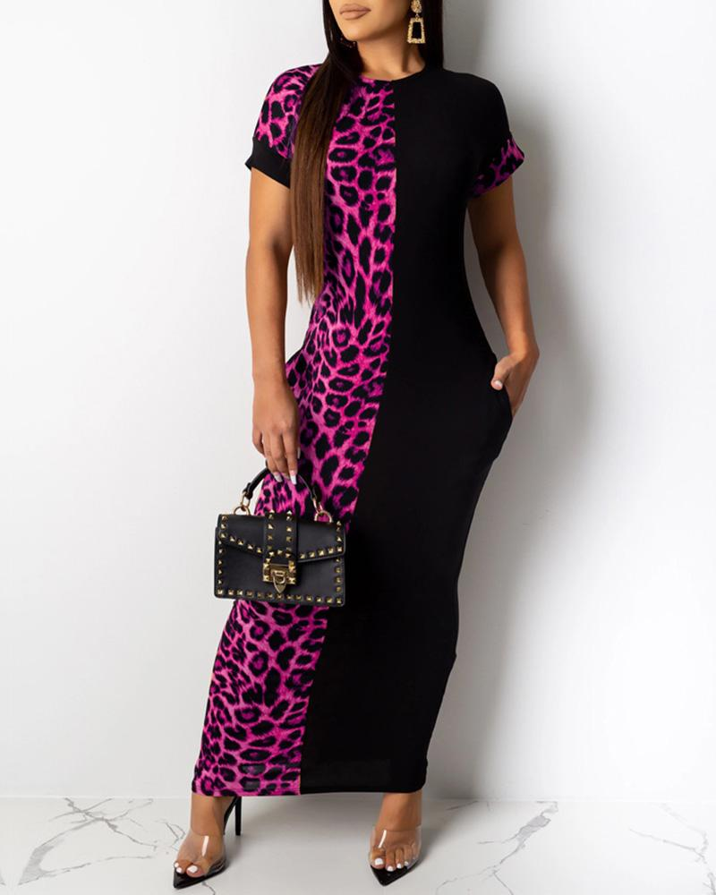Leopard Patchwork Short Sleeve Dress фото