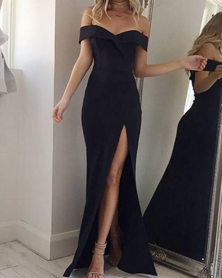 Off Shoulder Thigh Slit Evening Dress, White