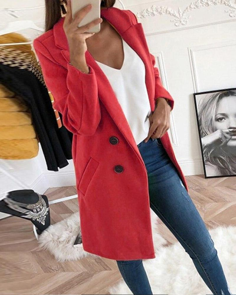 Button Detailed Shawl Collar Coat фото