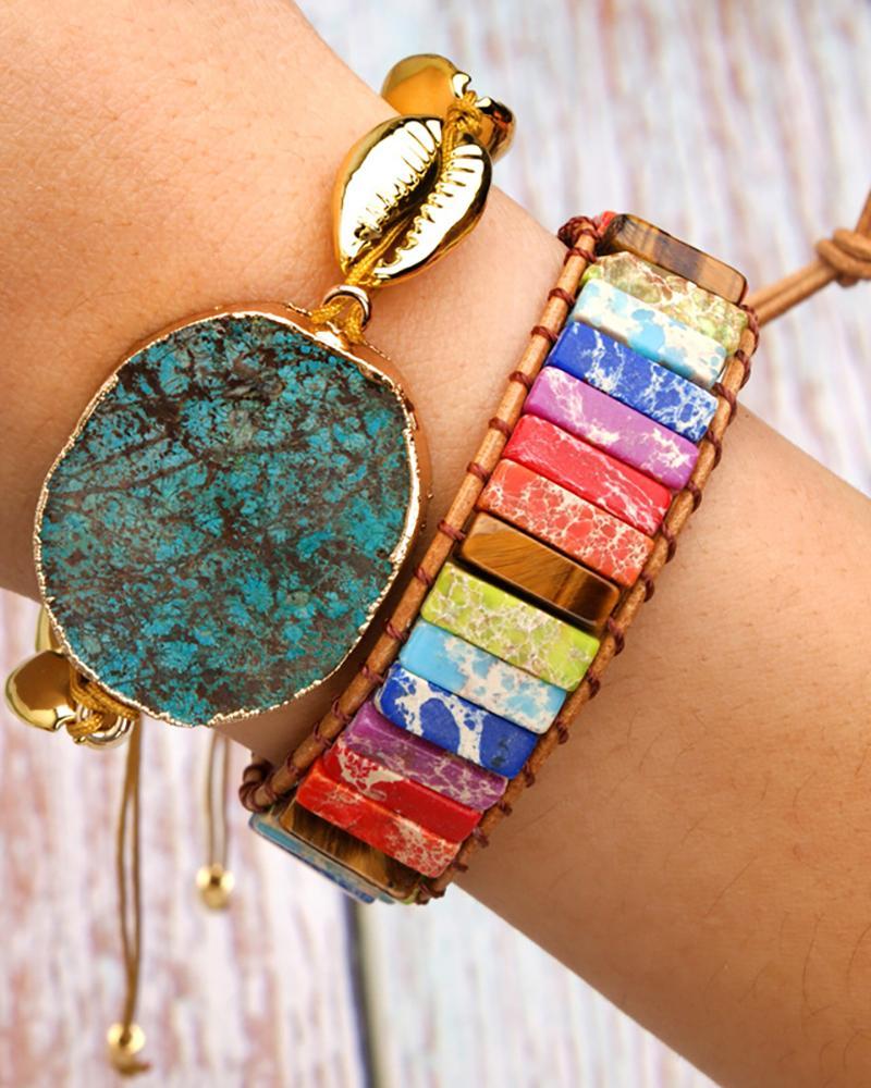 Colorful Geo Rhinestone Braided Bracelet