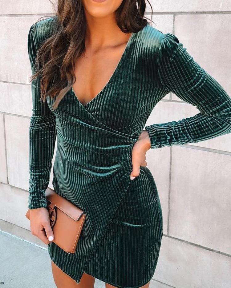 Velvet Wrapped Irregular Mini Dress