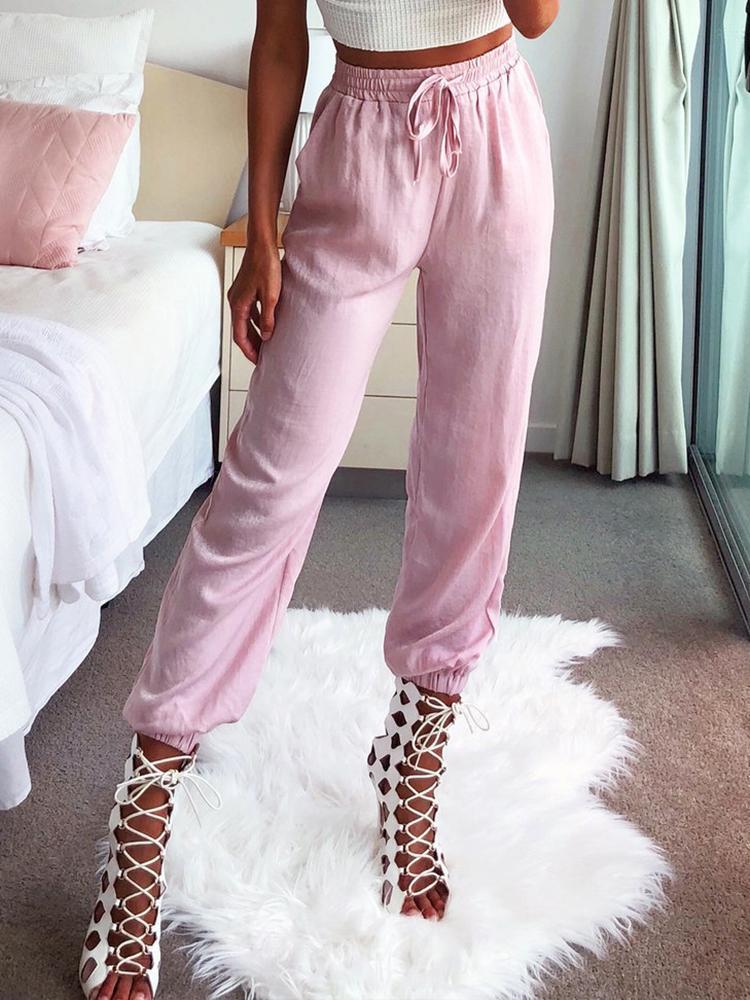 chicme / Solid Shirred Drawstring Elastic Hem Pants