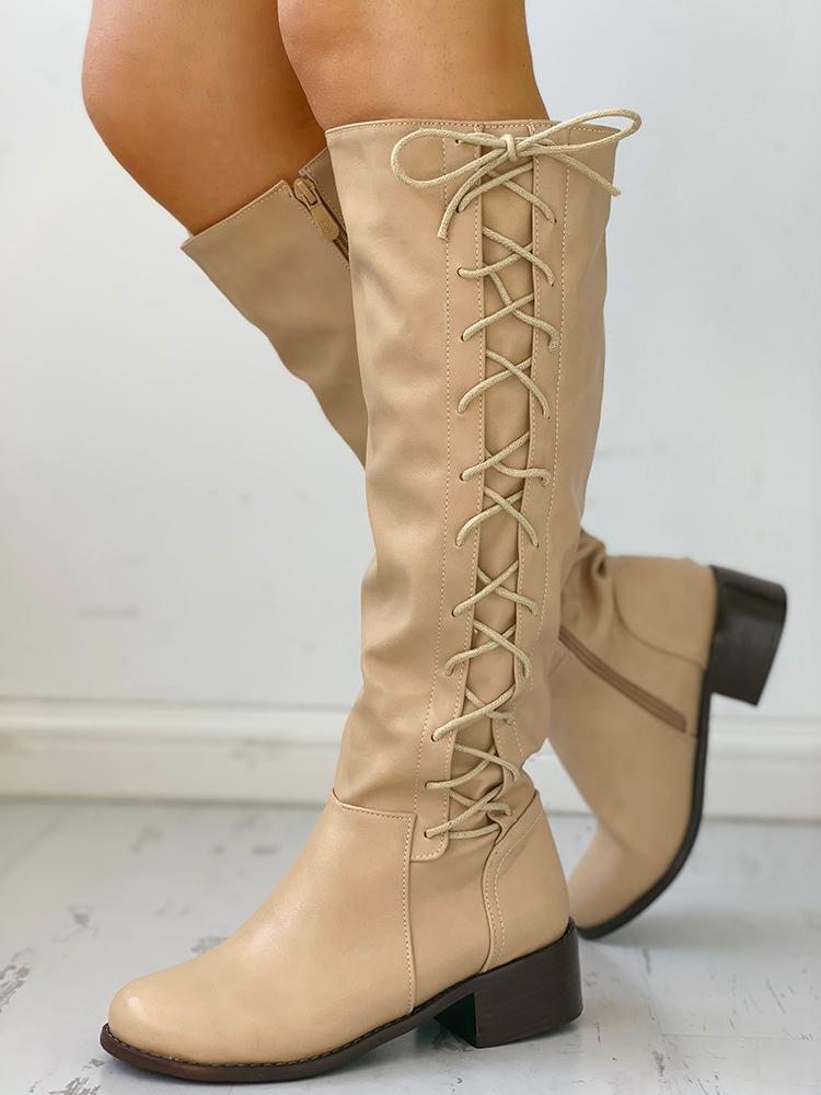 joyshoetique / Lace-Up Chunky Heeled Boots