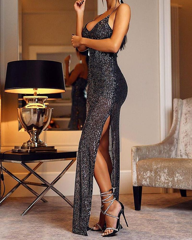 ivrose / Plunge Sequined Slit Maxi Dress