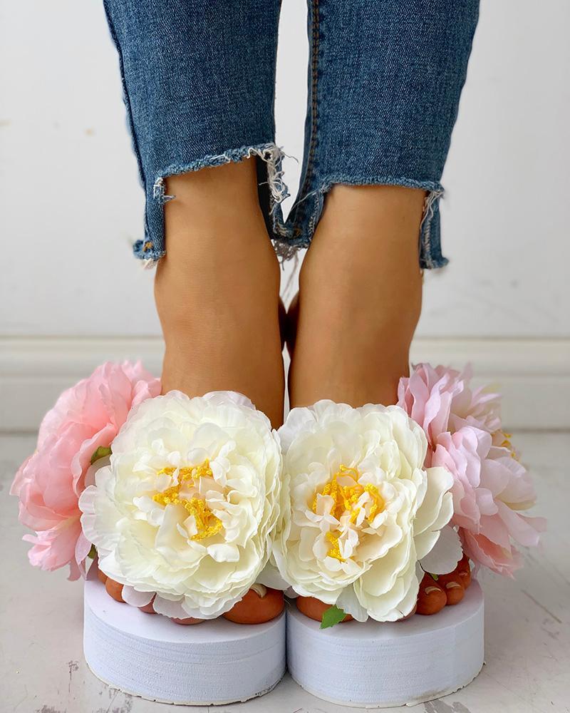 boutiquefeel / Sandalias de muffin con plataforma adornada con flores