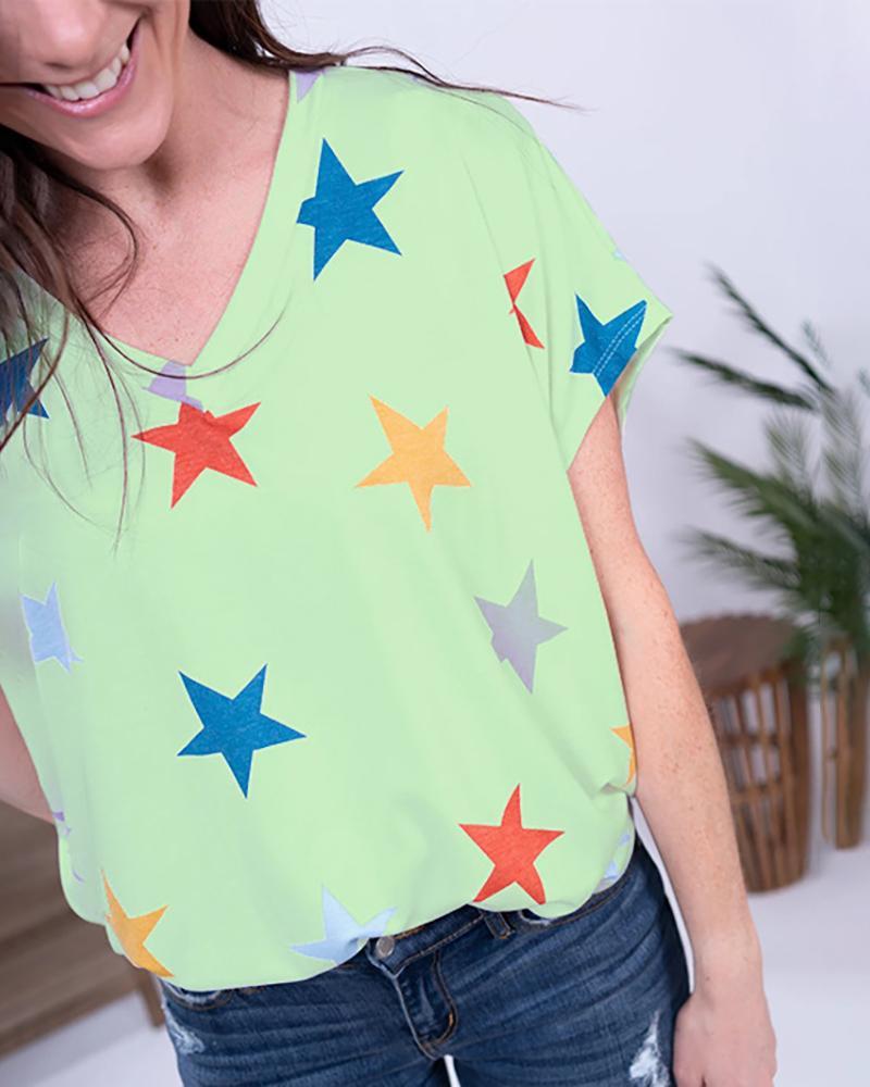 V-neck Stars Print Short Sleeve T-shirt фото