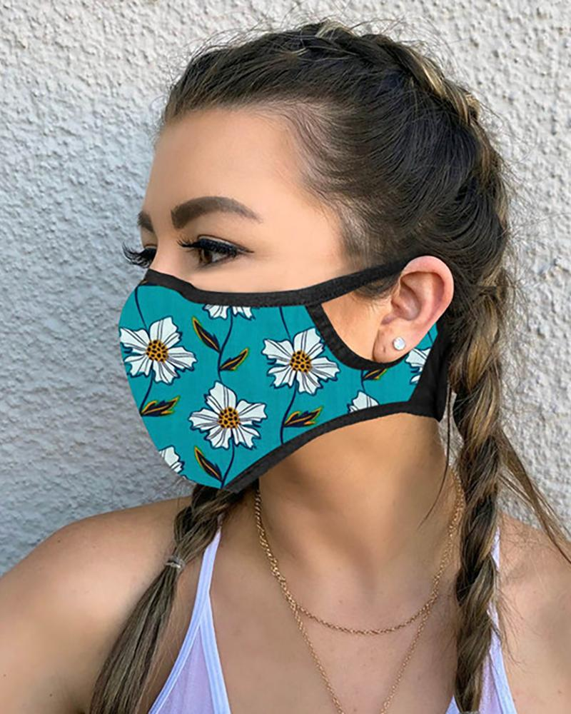 Floral Leaf Print Breathable Mouth Mask фото