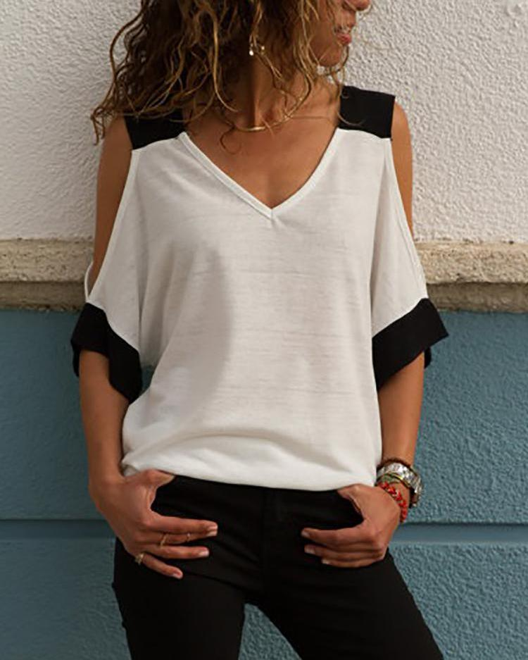 Contrast Color V Neck Cold Shoulder T-Shirt, White