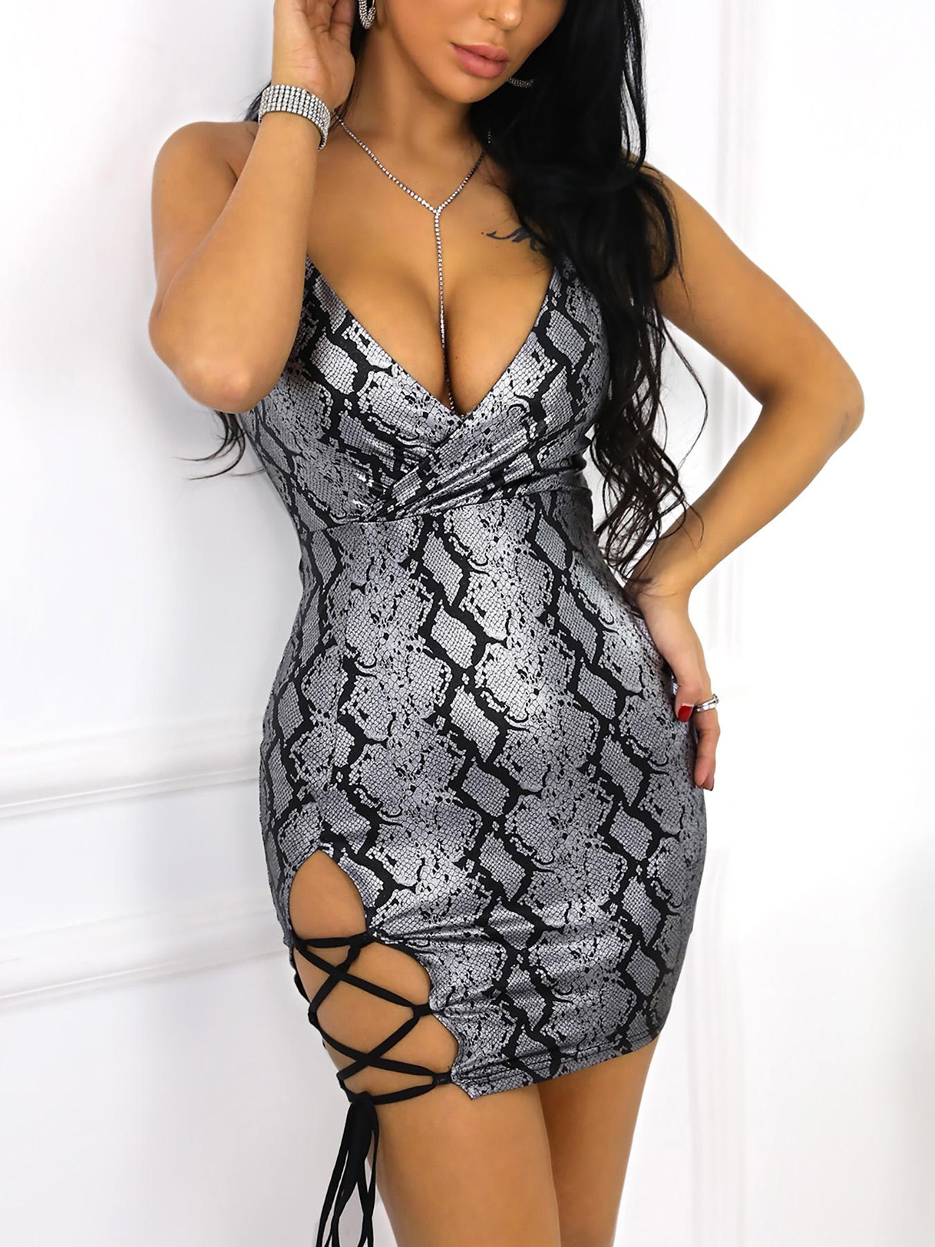 Snakeskin Print Lace Up Party Dress